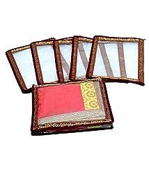 Kuber Industries Saree cover Transparent With Designer Gota Set of 6 Pcs, Wedding Collection Gift