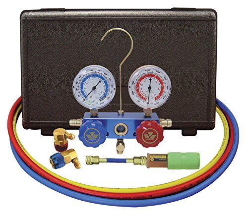 Mastercool 89660-Uv Aluminum Manifold Gauge Set And Mini Dye Injector With Standard Coupler