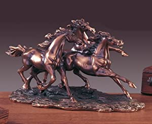 Horse Collection Bronze Plated Statue Sculpture 3 Run