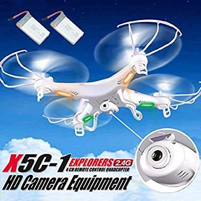 Syma X5C-1 2.4GHz 4CH 6 Axis RC Quadcopter Drone RTF HD Camera with 2PC Battery