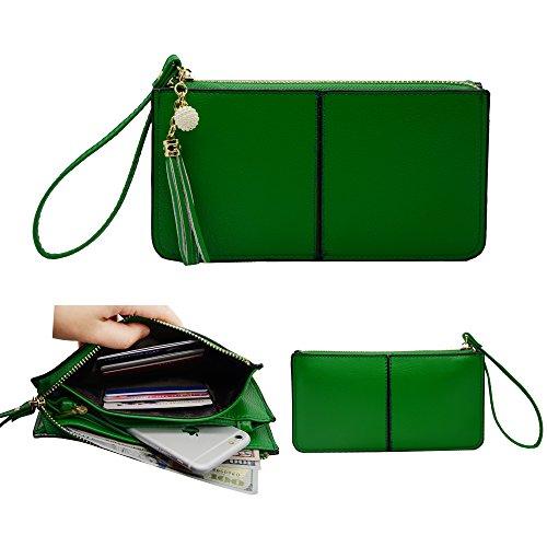 Belfen morbida pelle del cinturino dell'orologio del telefono Portafoglio del cinturino dell'orologio della frizione nappe del cinturino dell'orologio con le scanalature / carte squisito nappe / cinghia di polso / Cash tascabile Fit iPhone 6 Plus / Samsung Note 5- verde smeraldo