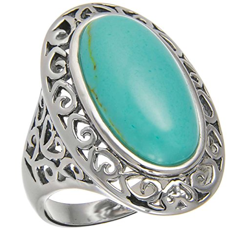 30Mm Southwest Vintage Luxury Antique Oval Cut Sleeping Beauty Green Turquoise Navajo Arizona Spirit Inspired - Sterling Silver Ring Size 6-10 (10)