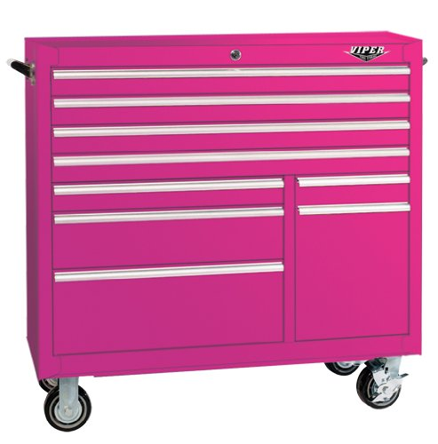 Images for The Original Pink Box PB4109R 41-Inch 9-Drawer 18G Steel Rolling Tool Cabinet, Pink