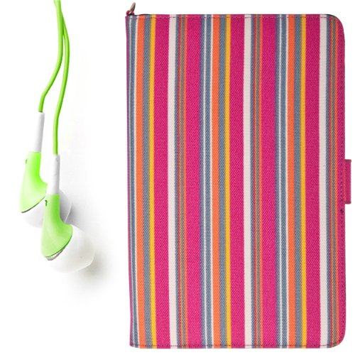 """(Candy Colorful Stripes) Dauphine Edition Protective Book-Style Canvas Carrying Case For Kobo Touch 6"""" Pearl High Contrast E Ink Display E-Reader + Green Hifi Noise Reducing Premium Headphones With 3.5Mm Jack"""