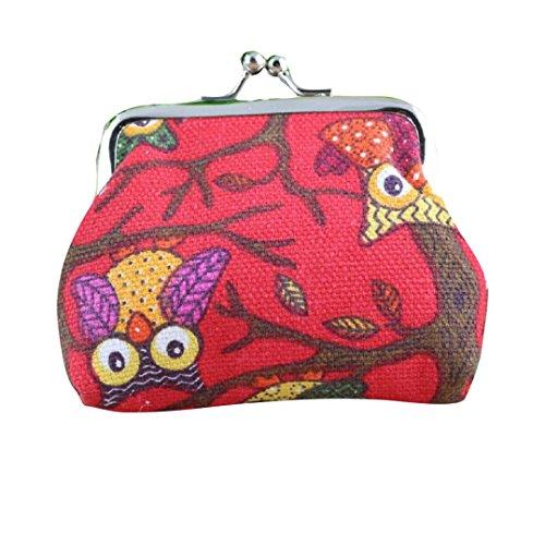 Fortan Donne belle di modo della signora di stile piccolo portafoglio Hasp gufo borsa Pochette (Rosso)