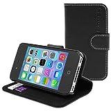 英国Snugg製 iPhone4 / iPhone4s 用 手帳型 PUレザーケース カードポケット・スタンド機能付き (ブラック)