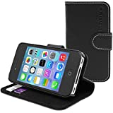 Snugg™ iPhone 4 / 4s Case - Leather Wallet Case with Lifetime Guarantee (Black) for Apple iPhone 4 / 4s