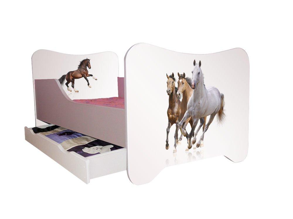 Kinderbett Pferde 70 x 140 cm, mit Lattenrost und Matratze, weiß