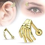 DDLBiz Punk Skull Stainless Steel Earring Skeleton Ghost Hand Tragus Piercing Body Jewelry (Gold)