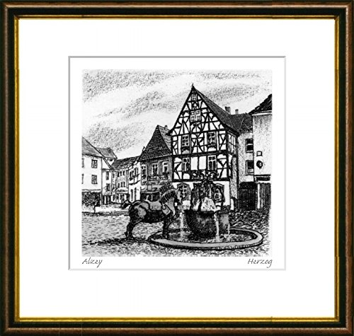 Single-colored hand-crafted etching Alzey, Brunnen (Germany) by Herzog in a brown-gold frame behind a passe-partout, graphics, art design, art print