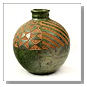Decorative Vase, Etched Geometric Design Green and Beige Colors