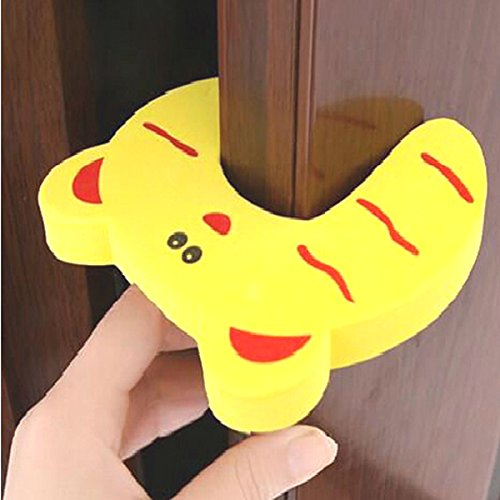 The Wolf Moon® Children Safety No Finger Pinch Foam Door Stopper. Colorful Cartoon Animal Cushion - Ramdom Bundled Baby Child Kid Cushiony Finger Hand Safety, Curve Shaped Door Stop Guard 5 PCS Set