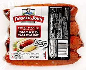 Farmer John Red Hots Extra Hot Smoked Sausage 14oz. Package (Pack of 3) from Farmer John