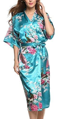 Damen Morgenmantel Kimono Robe Bademantel Nachtwäsche Lange Stil