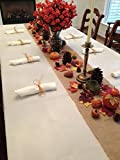 Thanksgiving Tablecloth, Napkins and Fall Decor Setting, Set Includes Ivory Linens (Natural Burlap Runner)