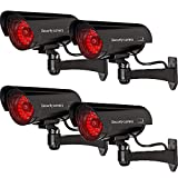 WALI Bullet Dummy Fake Surveillance Security CCTV Dome Camera Indoor Outdoor with 30 Illuminating LED Light + Warning Security Alert Sticker Decals WL-B30-4(Black), 4 Pack