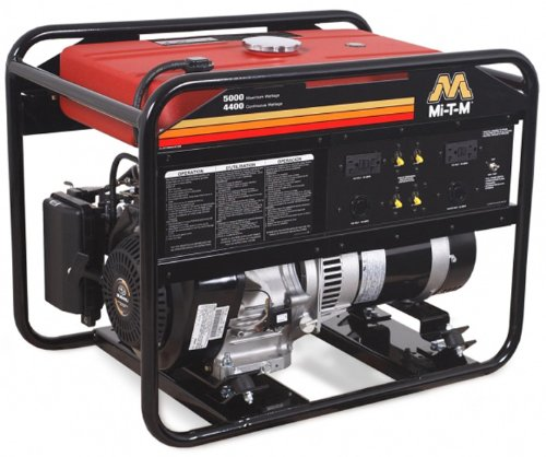 Mi-T-M Gen-5000-0Ms0 Portable Generator With 287Cc Subaru Ohc Engine, 5000W, Red/Black