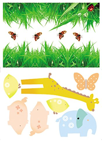 Damara Grass Giraffe Butterfly Wall Stickers Children Schoolroom Decor
