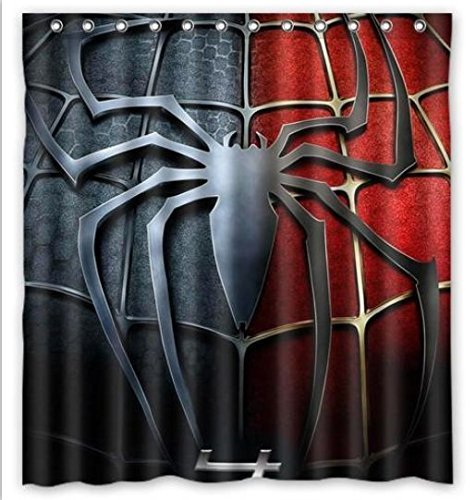"""TT Family Window Curtain Custom Spiderman Logo with Rings Fabric with Ringstandard Size 52""""x63"""" (One Piece)"""