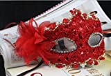 Red Lace with Rhinestone Liles Venetian Mask Masquerade Halloween Costume from Y2B