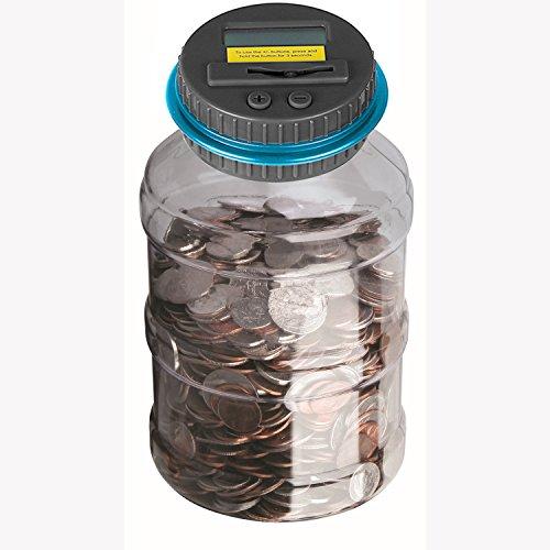 Powstro Piggy Bank Digital Counting Coin Bank Creative Large Money Saving Box Jar Bank LCD Display Coins Saving Gift (Dollar) (Big Change Jar compare prices)