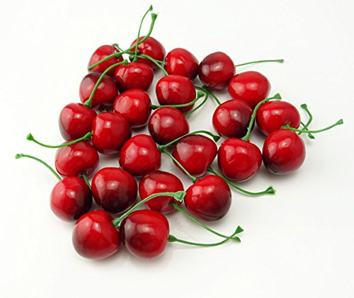 Yueton pack of 25 artificial lifelike simulation small red for Artificial cherries decoration