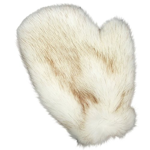 MinkgLove Mens Genuine Faux Fake Fox Fur Massage Glove Mitten, Caramel Brown Buff Fox Color, Plush & Textured Touch, Hand Tailored, Unisex, One Size - Double Sided Faux Fake Fur (One Sided Thong compare prices)