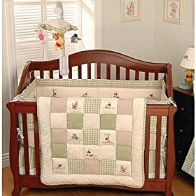 Patchwork Pooh 4 Piece Crib Bedding Set