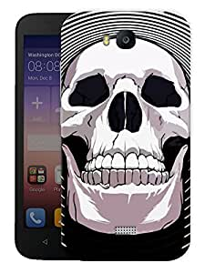 """Humor Gang Happy Skull Printed Designer Mobile Back Cover For """"Huawei Honor Bee"""" (3D, Matte, Premium Quality Snap On Case)"""