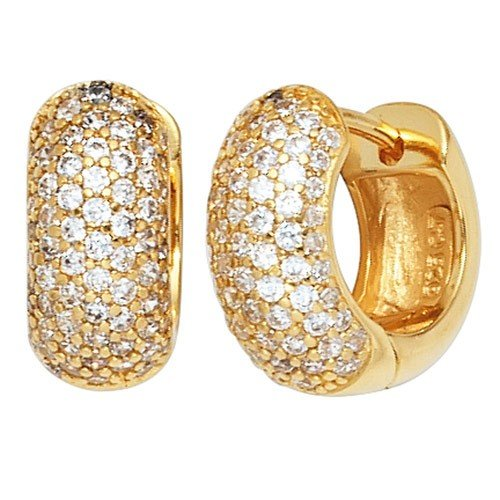 Creole Hoop Earrings Pair 13.9 mm 925 Gold-Plated Silver Earrings with Zircons