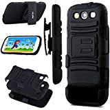 Galaxy S3 Case,ULAK Samsung Galaxy S3 Case,Rugged Hybrid Impact Silicone PC Combo Holster Cover Case With Belt Swivel Clip(Black)