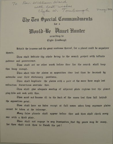 Clyde Tombaugh Autographed Ten Special Commandments For A Would-Be Planet Hunter