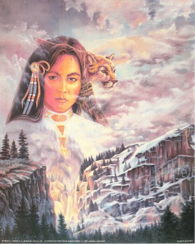 Native American Indian Princess and Mountain Lion Fine Art Print Poster (16x20)