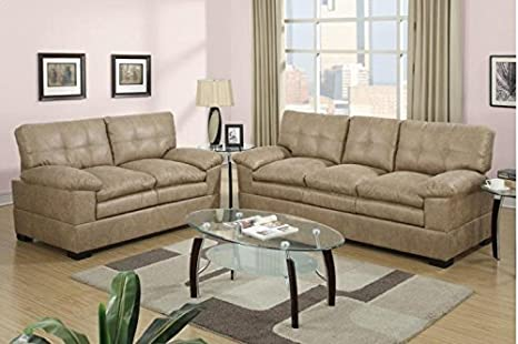 2-Piece Sofa Set Solid Pine in Cappuccino by Poundex