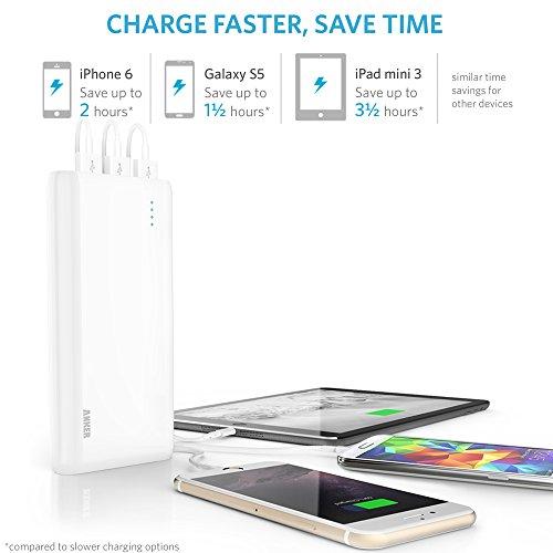 Anker Astro E7 超大容量 25600mAh モバイルバッテリー iPhone / iPad / iPod / Xperia / Galaxy / Nexus / 3DS / PS Vita / Wifiルーター / ウォークマン他対応 【PowerIQ搭載】 ホワイト A1210021