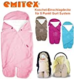 Emitex MULTI - Spring / Summer / Autumn -- NO UNTHREADING of Seat Belts -- Swaddling Wrap, Car Seat and Pram Blanket, Universal for Car Seat (e.g., Maxi-Cosi, Römer, etc.), for Pram, Buggy or Baby Bed -- ROSE