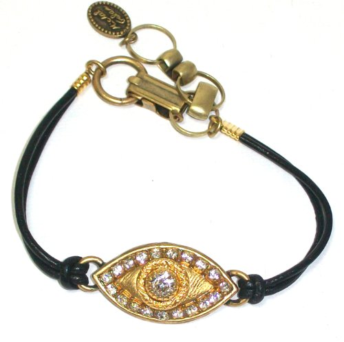 Michal Golan 24k Gold Plated Evil Eye Bracelet with Clear Swarovski Crystals on Black Leather Cord