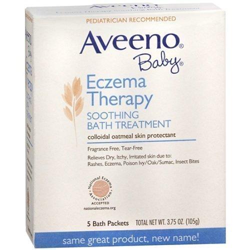 Aveeno terapia lenitiva per eczema bambino, trattamento da bagno, uso singolo (5 bustine)