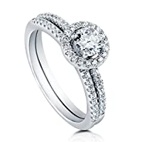 BERRICLE Sterling Silver Round Cubic Zirconia CZ Halo Womens Engagement Wedding Bridal Ring Set from BERRICLE