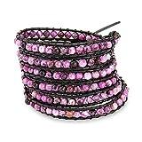 Chen Rai Purple Haze Long Wrap Bracelet on Black Cord