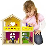 Wooden Wonders Cozy Cottage Dollhouse with 10 Pieces of Furniture and 3 Dolls by Imagination Generation