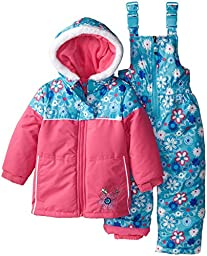 Rugged Bear Little Girls\' Floral Printed Snowsuit, Pink, 3T