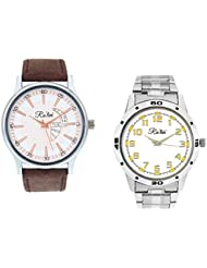 Ra'len Analog White And White Dial Men's Watch - GR-W-0022 (Pack Of 2)