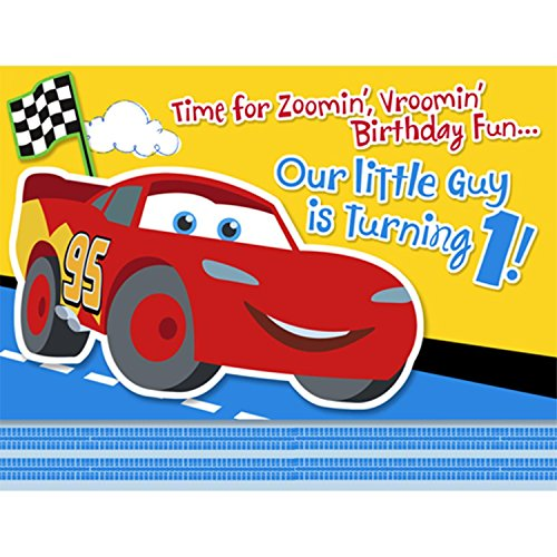 Hallmark Unisex Adult Disney 1st Birthday Cars Invitations Black Medium