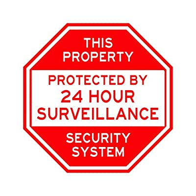 "Security Warning Yard Sign. Oversized 10""x10"" Extremely strong, made with commercial aluminum. Never rusts. Keep out intruders. 24 hour surveillance. Pre-drilled holes allow for placement anywhere"