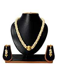 Gorgeous & Stunning White Pearl Mala Set With Beautiful Earrings Set For Partywear Trendy Women