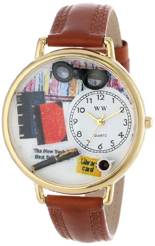 Whimsical Watches Unisex G0460001 Book Lover Brown Leather Watch