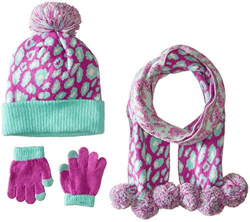 Pink Platinum Big Girls Hat Glove Scarf 3 Piece Set- Leopard, Purple, big kids (Platinum Hats compare prices)