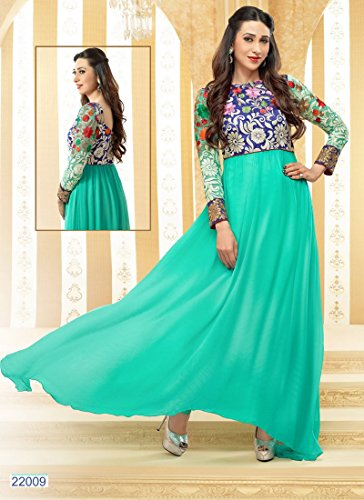 Clickedia Women Faux Gorgette Semi-Stitched Anarkali Suit (EL22009-sea green)