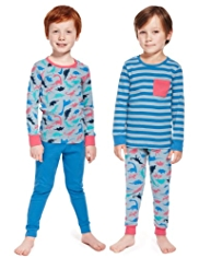 2 Pack Pure Cotton Dinosaur & Striped Pyjamas